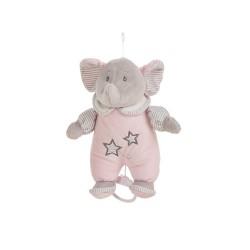 Cajita musical elefantito rosa de Creaciones LLopis