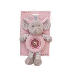 Sonajero elefantito con bolita rosa de Creaciones LLopis