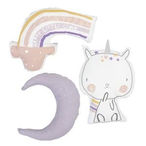 Bimbidreams Set de 3 Cojines Unicornio